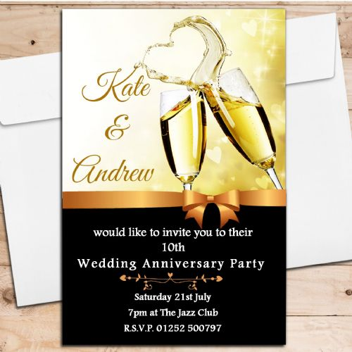 10 Personalised Champagne Wedding Anniversary Invitations N8